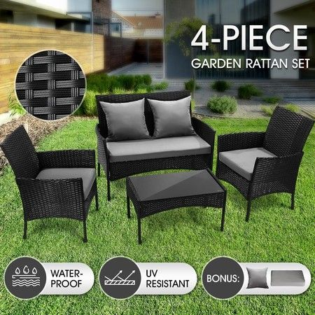 Outdoor Furniture Sofa Lounge Garden Rattan Chairs Table Set 4 PSC