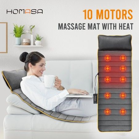 Heated Vibration Massage Mat 10 Vibrating Motor Massage Therapy Pad