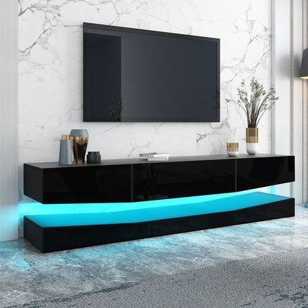 Modern 200cm Wall Mounted TV Stand Cabinet 3 Drawers LED Entertainment Unit Black