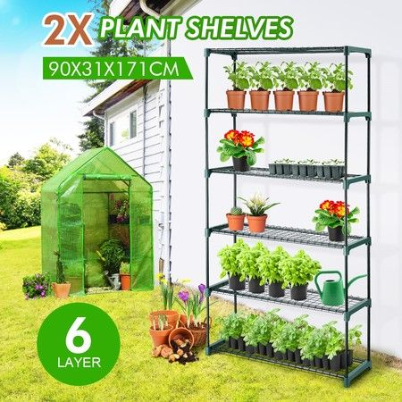 2x 6 Tier Plant Shelves Greenhouse Supplies Plant Stand Metal Shelving