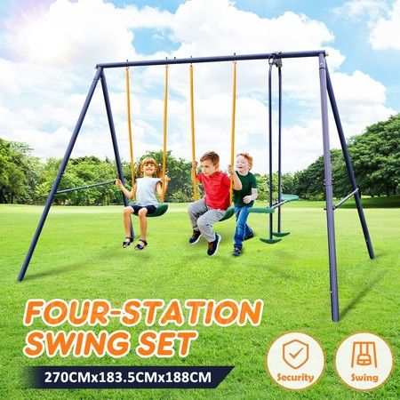 Metal Swing Set Outdoor Backyard Playground for Kids with 2-Person Glider