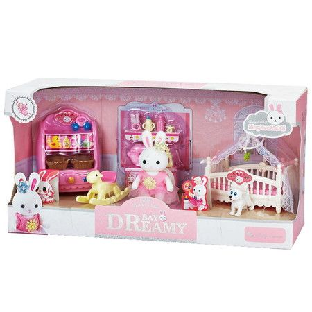 MINI Rabbit Home Feature Bedroom Playset Pretend Play Toy Gifts