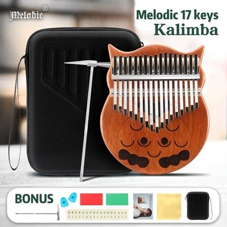 Melodic 17 Keys Owl Kalimba Mahogany Wood Thumb Piano Finger Percussion w/ Tuning Hammer