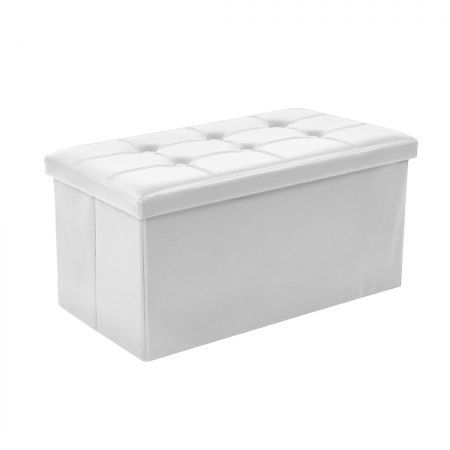 Folding Ottoman Storage Blanket Box Footstool Stool Cube Pouf Faux White Leather