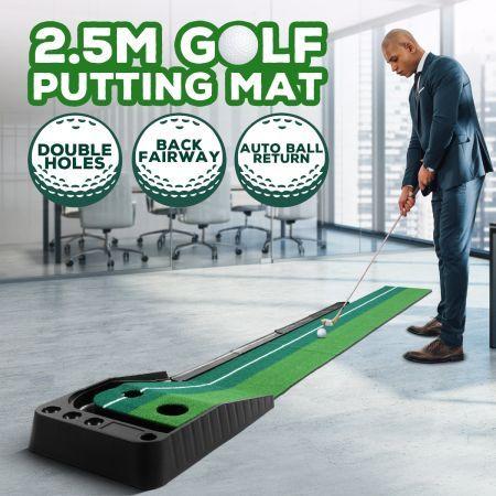 2.5M Golf Putting Mat Indoor Putting Greens Golf Practice Mat with Auto Ball Return   Crazy Sales