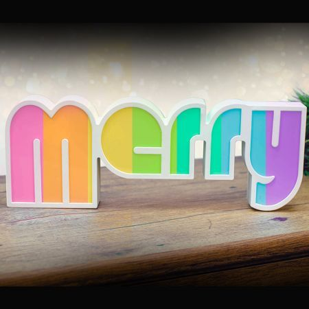 Stockholm Christmas Lights LED Letter MERRY Sign 7 Color Changing Indoor Party Decoration