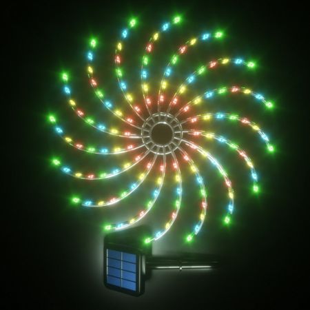 Stockholm Christmas Lights 128 LEDs Solar Spinning Multi Color Fairy Outdoor Garden 50CM