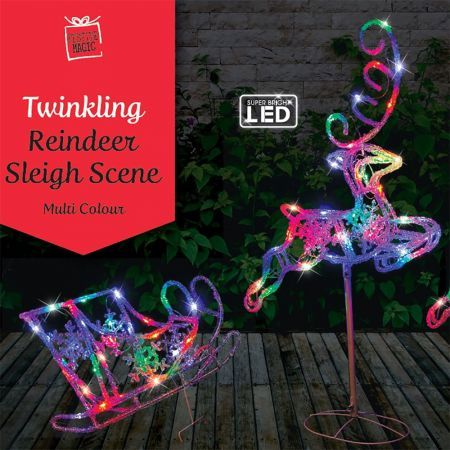 Stockholm Christmas Lights 120 LEDs Sleigh + Reindeers Multi Color Xmas Outdoor Garden Decor 3M