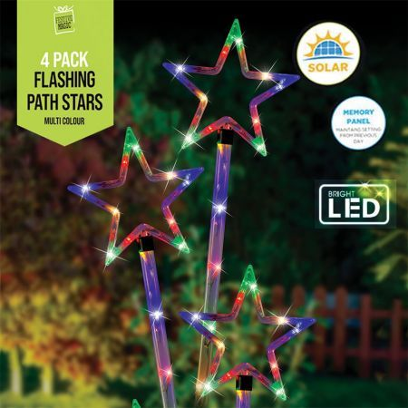 Stockholm Christmas Lights 4pcs LED Solar Stars Multi Color Path Outdoor Garden Xmas Decor