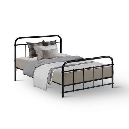 Metal Bed Frame Single Size Platform Foundation Mattress Base Leo Black