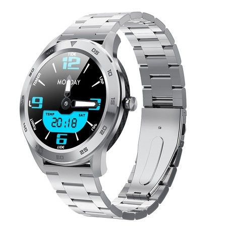 2020 Smart Business Watch Waterproof Sport Heart Rate Pedometer Call Message Reminder Stainless Steel Bracelet Col.Silver