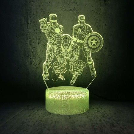 3D Visual Illusion Spiderman, Iron Man, Captain America 16 Color Changing Night Lamp The Avengers Light