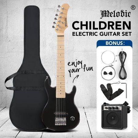 Melodic 30 Inch Children Kids Electric Musical Instrument Guitar w/ 5W Amp Picks Gig Bag Black