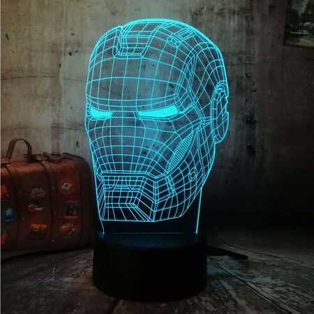 3D Powered USB Table Lamp Visual Illusion The Avengers Iron Man mask 16 Colors Perfect Gift