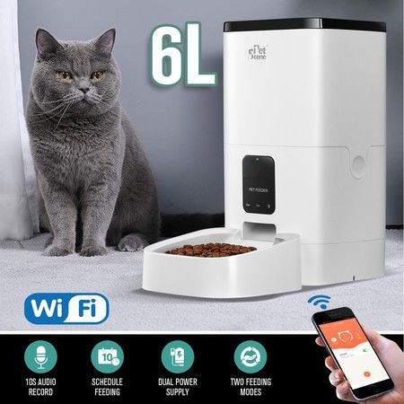 Petscene 6L Automatic Pet Feeder Wi-Fi Enabled Smart Dog Cat Feeder with App Remote Control