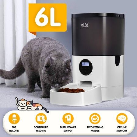 Petscene 6L Automatic Pet Feeder Dog Cat Feeder Food Dispenser with LCD Screen