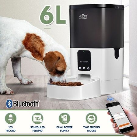 Petscene 6L Automatic Pet Feeder Dog Cat Feeder Food Dispenser with Bluetooth