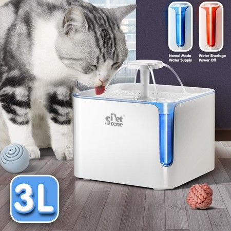 Petscene 3L Automatic Pet Fountain Dog Water Dispenser Cat Water Feeder with LED Indicator