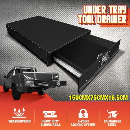 Steel Under Tray Tool Box Truck Ute Tool Boxes ToolBox Roller Drawer Black