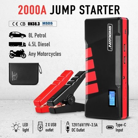 2000AMP Portable Jump Starter Car Battery Charger 12V with LCD Screen