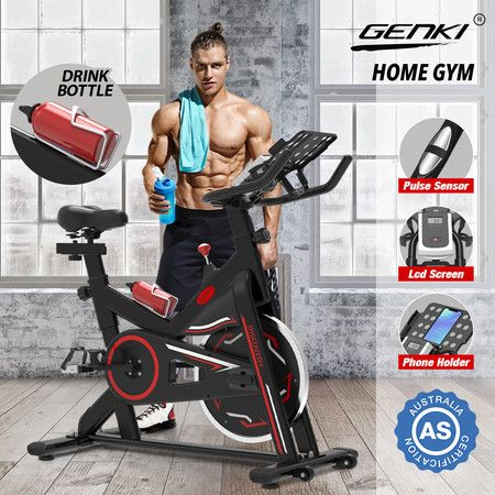 Genki Stationary Spin Bike Indoor Cycling Exercise Workout Equipment Belt Driven