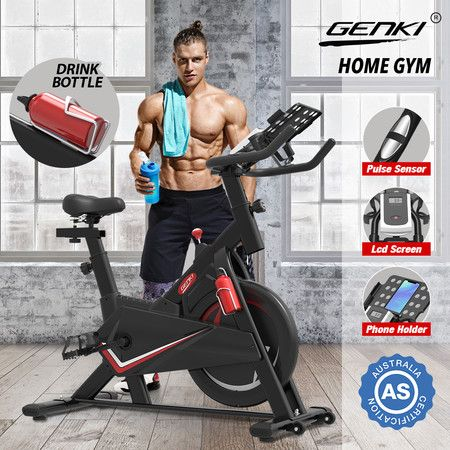 Genki Stationary Spin Bike Home Training Workout Equipment 13kg Flywheel Belt Driven