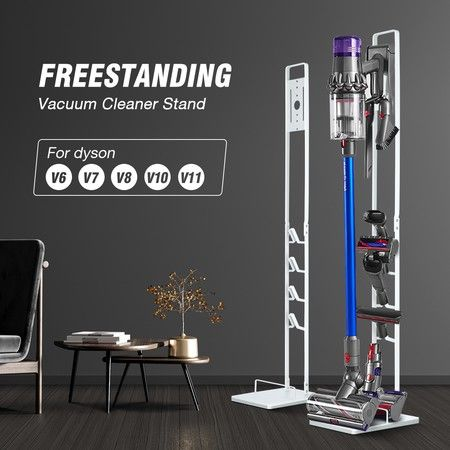 Freestanding Dyson Cordless Vacuum Cleaner Metal Stand Rack Hook V6 V7 V8 V10 V11 White