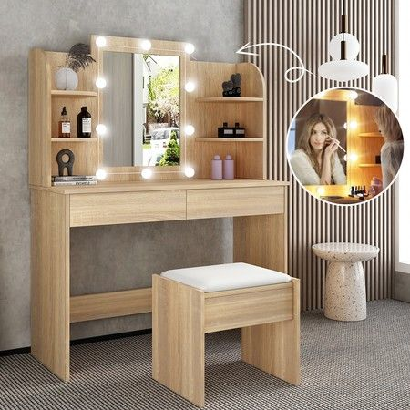 Classic Oak Dressing Table Makeup Vanity Table Stool Set w/ LED Lighted Mirror Drawers