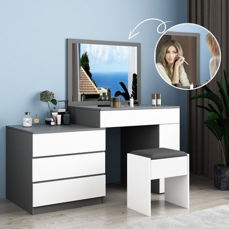 Modern 4 Drawer Dressing Table Set Makeup Mirror Vanity Table Stool Set Crazy Sales