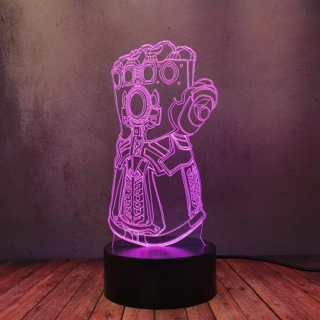 3D Powered USB Table Lamp Visual Illusion Thanos Gloves 16 Colors Perfect Gift