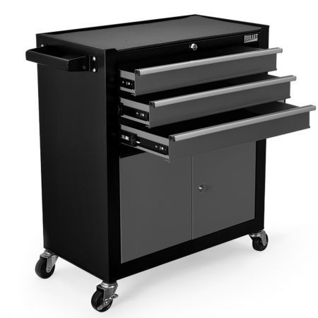 BULLET Tool Chest Cabinet Box Trolley Rolling Wheels Drawer Storage Steel Black