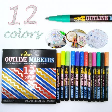 Double Line Outline Pens 12 Colors Self Outline Metallic Markers for Drawing, Greeting Cards, Craft Projects, Posters, Painting, Kid Journal, Self Journal