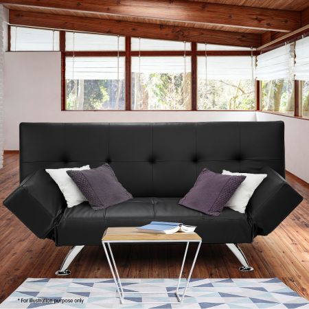 Sarantino 3 Seater Faux Leather Sofa Bed Lounge - Black
