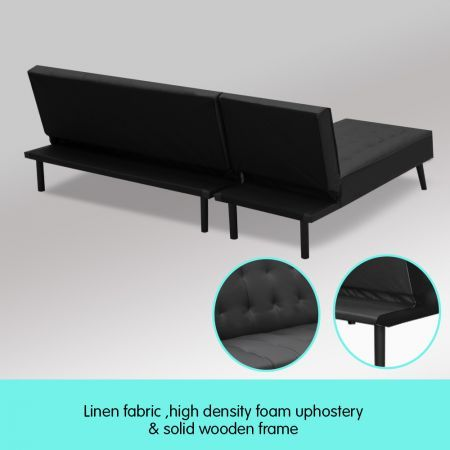 Sarantino 3-Seater Faux Leather Sofa Bed Lounge Chaise Couch - Black