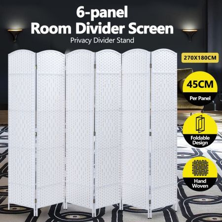 6 Panel Room Divider Decorative Folding Rattan Wicker Screen Room Privacy Separator White