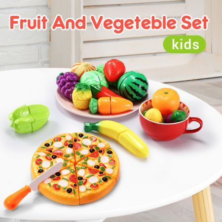 62 Pieces Kitchen Pretend Play Food Set for Kids Cutting Fruits Vegetables Pizza Toys Set