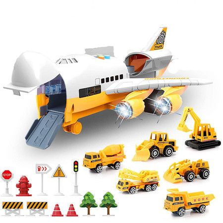 Large Airplane Toy with 6 Construction Trucks Set for 3 Year Old Kids