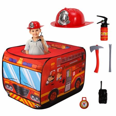 Firehouse Tent for Kids with Helmet,Fire Extinguisher,Axe,Crow bar Toys