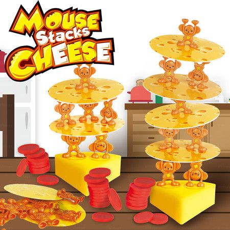 Mouse Stacks Cheese Cake Topple Board Game Multi Player Family and Friends Fun age3+