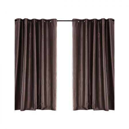 2X Blockout Curtains Blackout Curtain Bedroom Window Eyelet Taupe 180CM x 213CM