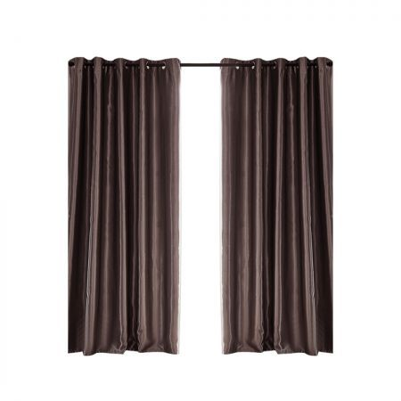 2X Blockout Curtains Blackout Curtain Bedroom Window Eyelet Taupe 140CM x 244CM