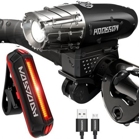 Bike Cycling Waterproof Front Light +Taillight Super Light With USB Rechargable