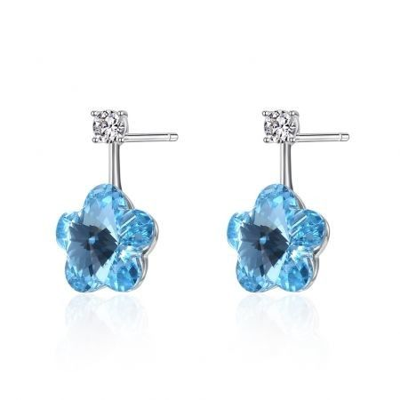 Crystal S925 Sterling Silver Lovely Flower Pop Earrings