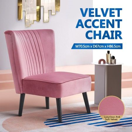 Retro Velvet Side Accent Chair Dining Lounge Chair Single Sofa Seat - Pink