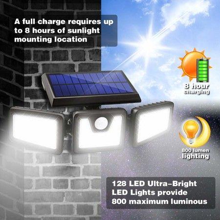 Solar Motion Sensor Lights Outdoor 3 Adjustable Heads, 270 Wide Angle Illumination, IP65 Waterproof, Security LED Flood Light - Crazy Sales