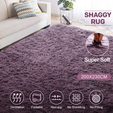 Rectangle Shaggy Rug Shag Rug Floor Fluffy Carpet Soft Mat For Bedroom Living Room 200CMx230CM   Crazy Sales