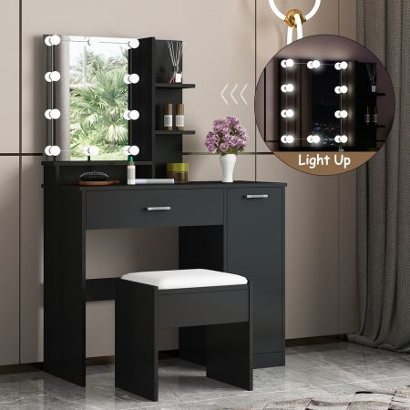 Black Dressing Table Dresser Makeup Vanity Table Stool Set with Mirror & LED Lights