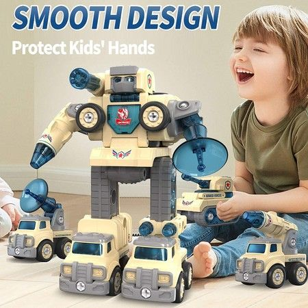 Take Apart Toys DIY 5 in 1 Peace Defender Military,Special Vehicles Transform into Robot,STEM Disassemble Beige