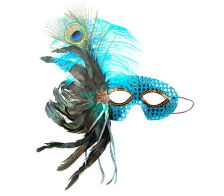 Venetian Masquerade Costume Fancy Dress Feather Mask in Turquoise Sequins