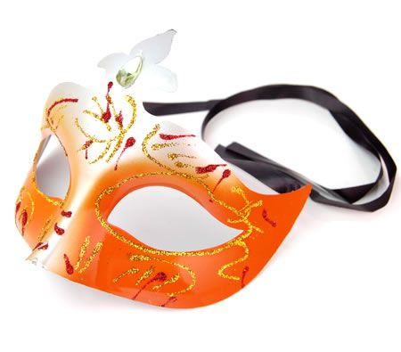 Venetian Masquerade Costume Unisex Fancy Dress Mask in Orange and Silver